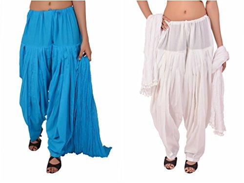 Stylenmart Combo Offers - Pack of Ferozi and White Cotton Patiala Salwar Dupatta