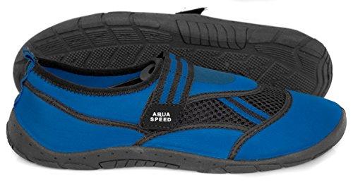 AQUA-SPEED Scarpe Di Acqua Per Spiaggia - Mare - Lago - Pantofole Ideale Come Protezione Per I Piedi - #As25 Blu (Blu/Nero)