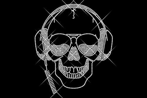 Luxflair, calavera de diamantes con auriculares, imagen...
