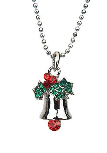 Kette Weihnachten X-Mas Glocke silber rot grün Strass Ella Jonte kurze Halskette