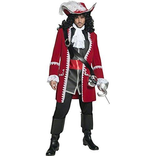 Authentischer Piratenkapitän Kostüm mit Jacke Hose Oberteil mit angesetztem Gürtel und Krawatte, Medium
