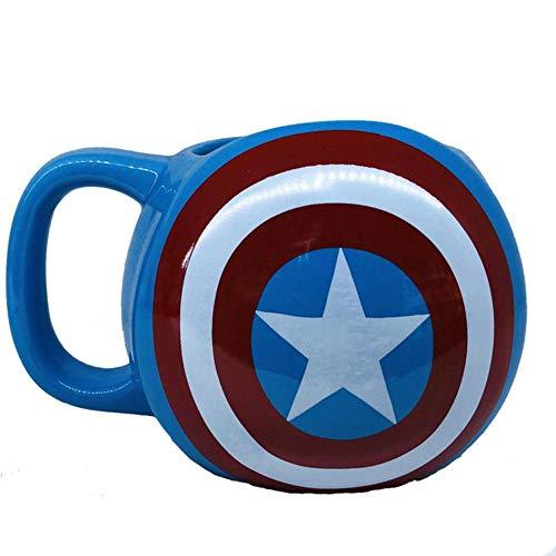 Taza Creativa Copa De Vino Taza De Cafétaza Wonder Woman De Dibujos Animados Escudo Del Capitán América Taza De Cerámica Creativa, Azul, 301-400 Ml