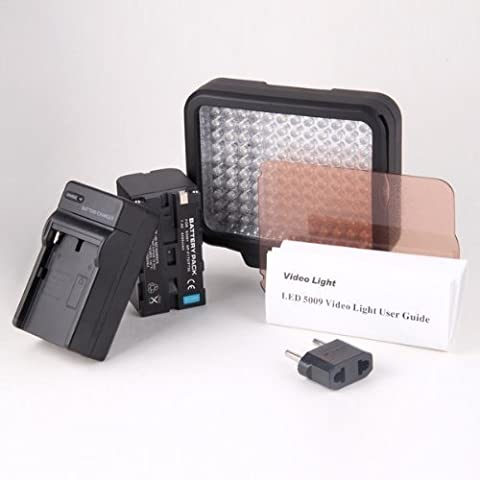 Kaavie - Qualità superiore Profeesional - Illuminatore Luce LED 120 LED video light + F550 Batteria - Faretto LED per fotocamere reflex digitali e videocamere Canon - Nikon - Olympus - Sony - Panasonic - Pentax