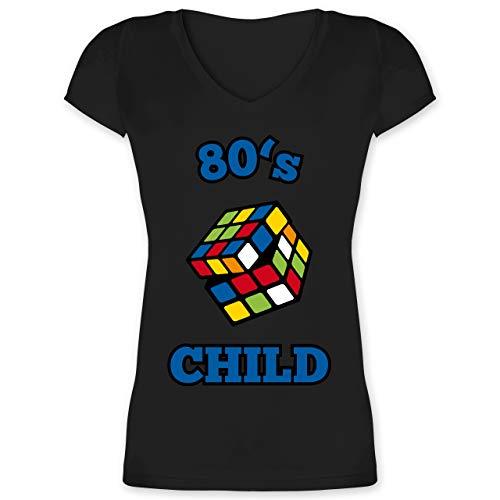 Statement Shirts - 80's Child - Zauberwürfel - XL - Schwarz - XO1525 - Damen T-Shirt mit V-Ausschnitt