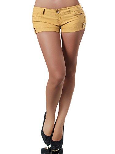 Diva-Jeans N949 Damen Stoffhose Kurze Hose Sommerhose Hüfthose Hot Pants Shorts Panty, Farben:Camel, Größen:S -