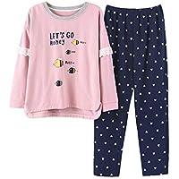 DUKUNKUN Cartoon Lace Home Wear Conjunto De Pijama De Algodón De Manga Larga con Cintura Elástica Print Love Pants Lounge-L