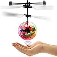 Price comparsion for Wiiguda@Toys Flying Ball Flying Toys Helicopter Sensing Induction With Built-in Color Emitting LED Lights For Kids And Teenagers, Nice Birthday Gifts for Kids