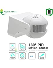 Quick Sense(Qs-09): 180` Wall-Mount PIR Motion Sensor Switch with Light Sensor, Energy Saving Sensor,LUX Adjustment, Time Adjustment,Automatic Sensor 220V