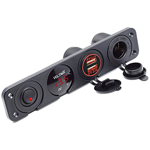 Meipire Dual USB Buchse Ladegerät 2.1A + 2.1A + LED Voltmeter + 12V Steckdose + ON-OFF Kippschalter Vier Funktionen Panel für Auto Boot Marine RV Truck Camper Fahrzeuge GPS Usw (Rot) (Truck Camper Klemmen)