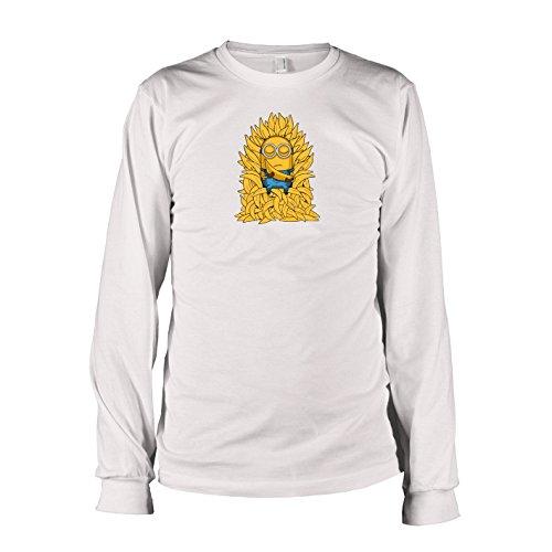 TEXLAB - Banana Throne - Langarm T-Shirt, Herren, Größe L, weiß (Despicable Me 2 Minion Kostüm Tshirt)