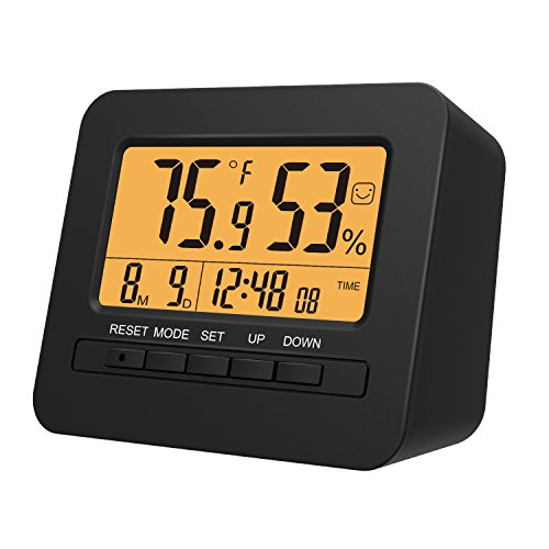 MoKo batteriebetriebener LED Digital Wecker mit Snooze, Datumsanzeige, Thermometer & Hygrometer Innen Temperatur Luftfeuchtigkeit Anzeige und Sensor Licht, Batterie Nicht einschließlich, Schwarz -