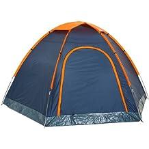 CampFeuer - Hexagon Campingzelt, Sechseckzelt, großes Kuppelzelt, blau / orange, 3000 mm Wassersäule