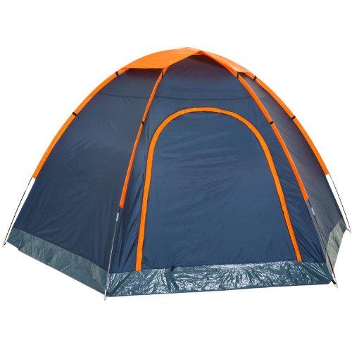 CampFeuer - Hexagon Campingzelt, Sechseckzelt, großes Kuppelzelt, blau/orange, 3000 mm Wassersäule