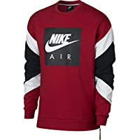 Nike M Nsw Air Crew Flc Top a Manica Lunga, Uomo, Gym Red/Bianco/Nero, M