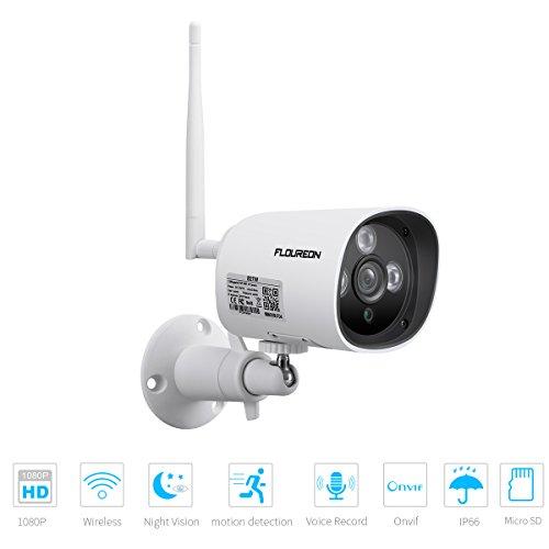 FLOUREON 1080P Wireless Bullet IP Kamera, Outdoor Überwachungskamera, 2.0MP ONVIF P2P H.264 IR LEDs Nachtsicht CCTV Sicherheitskamera, IP66 Wasserdicht, Unterstützt Micro SD Karte, Weiß