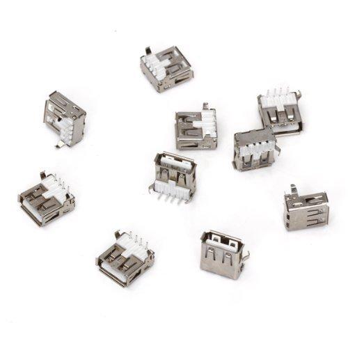 SODIAL(R) 10 Stk. USB Typ-A Buchse 90 Grad Buchse Buchse fuer Reparatur Usb-buchse