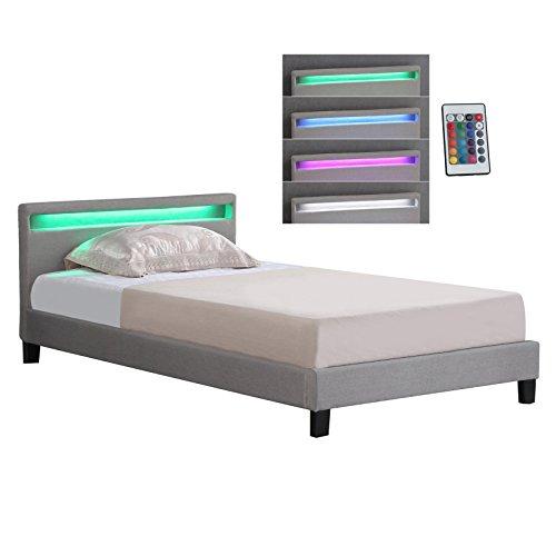Polsterbett Einzelbett Doppelbett SATOKA in grau / anthrazit, inklusive Rollrost und LED Beleuchtung, Designbett mit Stoffbezug, 120 x 200 cm