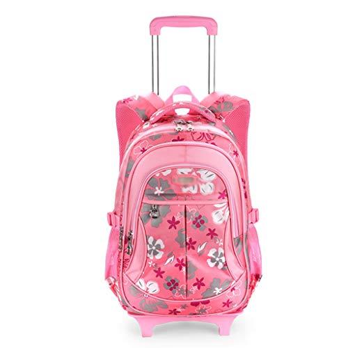 Xhhwzb zaino per bambini zaino, zaini scuola con ruote borsa da scuola zaino rotante per bambini zaini con ruote zaino per bambini (colore : pink)