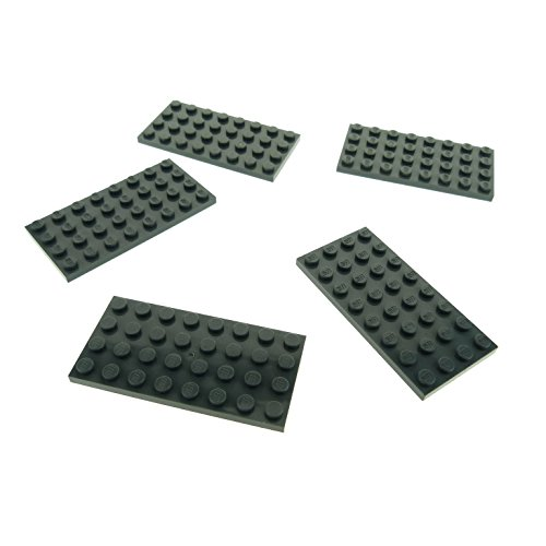 Preisvergleich Produktbild 5 x Lego System Bau Platte neu-dunkel grau 4 x 8 Noppen Star Wars 60061 8129 3818 7633 8017 3035