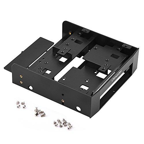 Richer-R Festplatten Einbaurahmen,5.25 Zoll auf 2.5/3.5 Zoll HDD/SSD Festplattenadapter Konverter Einbaurahmen,Multifunktion Floppy Drive Bay Festplatten Wechselrahmen Adapter Schwarz (Drive Floppy Adapter)