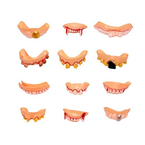 Amosfun 12 stücke Lustige Zähne Gefälschte Vampire Prothese Party Requisiten Kostüm Party Streich Spielzeug (Gelegentliche Stil) (Halloween Fake Braces)