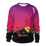 Damen Tops Lila Mumuj Mode Frauen Halloween Kürbisse 3D Druck Langarm Bluse Mädchen Hoodie Sweatshirt Festliche Party Pullover Lose Freizeit Insgesamt