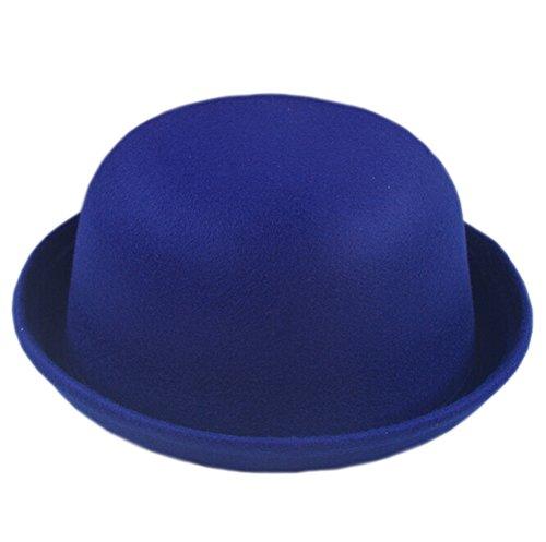 DELEY Damen Mädchen Filz Hut Wolle Hipster Retro Billycock Derby Bowler Mütze Hats Königsblau (Bowler Retro Damen)