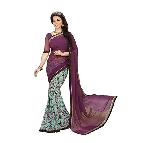 Janasya Women's Violet Half Half Georgette Printed Saree (JNE0926-SRE-VIOLET)  available at amazon for Rs.499