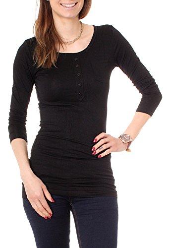 T-Shirt Long avec boutonnière manches longues uni T-Shirt de nuit pour femme Noir - Noir