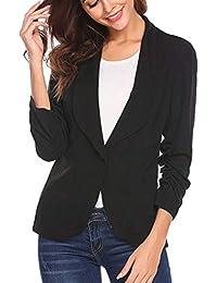 8c3172a005c90 Logobeing Mujer Chaqueta Blazer de Tres Cuartos Blazer Elegante de Traje  Delgado Estilo OL Moda Abrigo