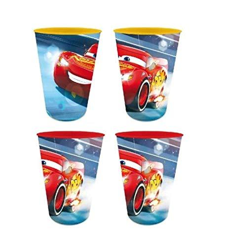 Theonoi 4 x Kinder Trinkbecher 260 ml/wählbar: Cars - PawPatrol - Avengers - Blaze/Becher Glas aus Kunststoff BPA frei - Geschenk für Jungen (Design Cars)