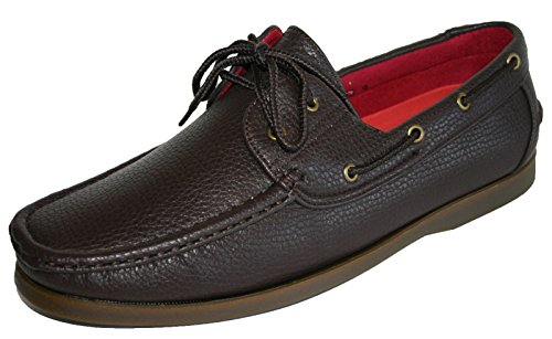 Coolers Men's Loafer Faux Nubuck Leder Lace Up Boots-Brett/Deck,, 41-45 EU Braun (Brown Grain)