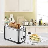 Homeleader Toaster mit 2 Brotscheiben, Edelstahl Doppelschlitz-Toaster mit 7 Bräunungsstufen, abnehmbarer Krümelschublade, 700W, Silver - 8