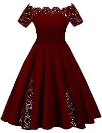 Mujer Vestido de Fiesta Corto Vestidos de Encaje Floral Elegante Vintage Falda Bodas Cóctel Talla Grande