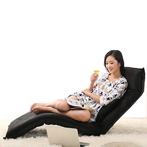 Sofa Stuhl Lounge Schlafsofa Faltbare verstellbare Bodenliege Sleeper Futon Matratze Seat Chair w/Pillow (Farbe : SCHWARZ)