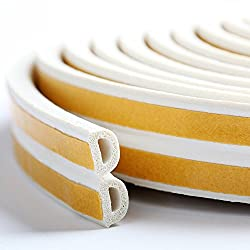 Bro Door Window Draught Excluder Strip Foam Seal Weather Stripping EPDM Tape Adhesive Rubber Soundproofing Weatherstrip, 9mm x 6mm x 3 Meters, 4 Seals Total 12M (D type, White)