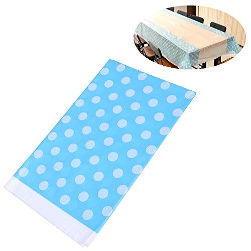 BESTOYARD Cubierta de Mesa desechable de Mantel de plástico para Fiesta de cumpleaños 108 x 180 cm (Azul Cielo)
