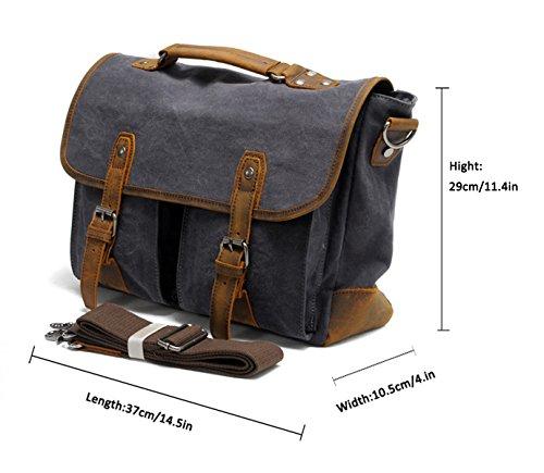 FAIRY COUPLE Herren Canvas Leder Aktentasche Handtasche für Reise Laptop Messenger Tasche Schultertasche C3019,kaffee Armee grün