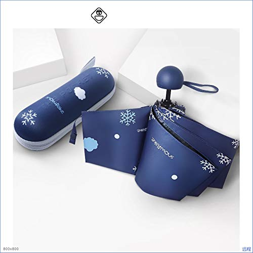 Mini formato tascabile compatta femminili ombrelli parasole barometro portatile dual uv apertura automatica/ombrello chiusura (color : blue)