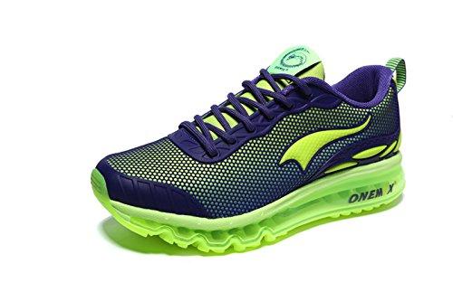 Onemix Uomini Air Cushion Scarpe Running Uomo Maglia Ginnastica Sportive Outdoor Sneakers Palestra Tennis Scarpe da Corsa verde 41 EU