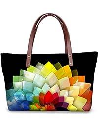 Rainbow Pattern Top Handle Tote Bag Satchel Handbag Shoulder Bag Purse