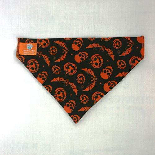 Premier Dog Pumpkin & Bats - Pañuelo Negro para Perro, se desliza Sobre el Collar de tu Perro