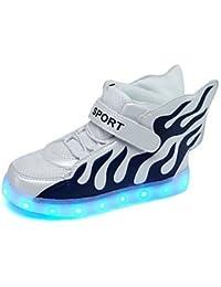 aemember niños 'zapatillas luz Up zapatos comodidad suela de luz sintética microfibra sintética Otoño Invierno Casual Outdoor Cordones Flat heelwhite/azul, US6.5 / EU38 / UK5 Big Kids, White/Blue