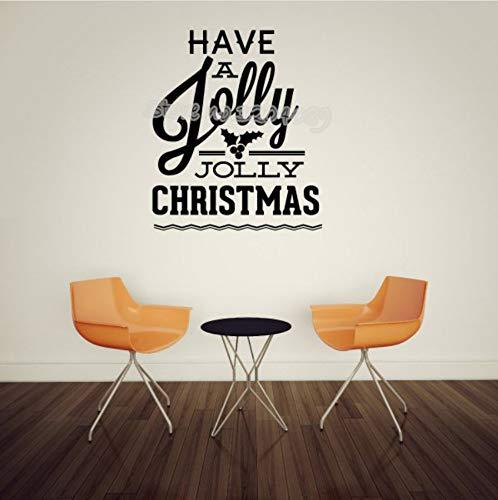Haben Sie ein Jolly Jolly Christmas Quote Wandtattoo Traditionelle Festival Wandaufkleber Ausgangsdekor Wohnzimmer Kunst Removable Wandbild 56x67 cm -