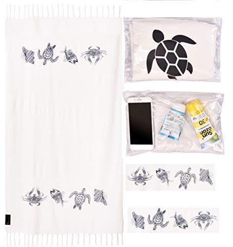Preiswert&Gut Strandtuch 95x180cm Badetuch Weiß Strandlaken NEUHEIT Tasche -