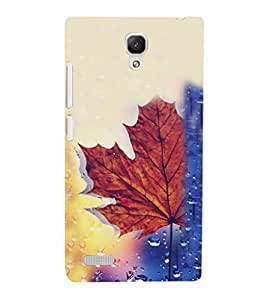 iFasho water Drop on brown leaf Back Case Cover for Redmi Note