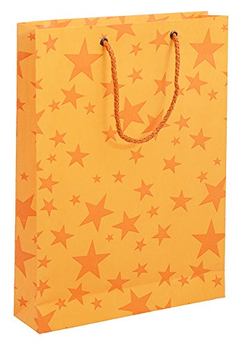 BDPP Premium Gift Paper Carry Bags-Orange Print On Mango Base(Pack Of 10)-Size 11.5 X 8.5 Inches