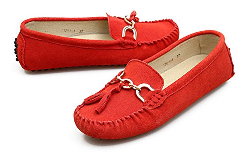 Minitoo Women's Slipper, bequem, Veloursleder, Herren Slipper mit Quaste, Balerinnas Driving Schuhe Rot