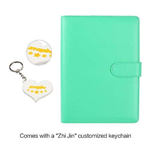 Zhi Jin A5Leder nachfüllbar Notebook Bezug ersetzen Binder Ringe Tagebuch Notizblock Case Diary Pen Halterung mintgrün