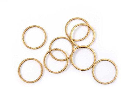 Vintageparts Schlichte Ringe aus Messing unbeschichtet mit 14 mm 20 Stück